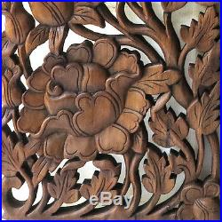 1 Pair Rose Garden New Wood Carving Home Wall Panel Mural Decor Art Statue gtahy