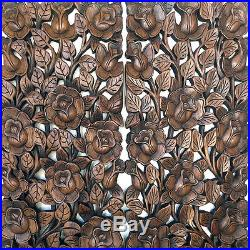 1 Pair Rose Garden Wood Carving Home Wall Panel Mural Decor Art Statue FS gtahy