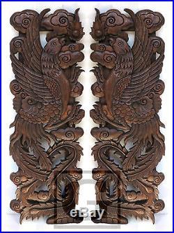 1 pair Twin Pheasant Wood Carving Home Wall Panel Mural Decor Art Statue gtahy