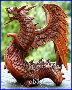 12 Large Hand Carved Wooden Dragon Sculpture Statue Wood Art Figurine Decor NEW