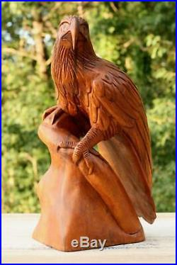 12 Large Wooden Eagle Statue Hand Carved Sculpture Figurine Art Home Decor Gift