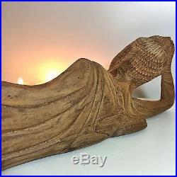 12 Thai Buddhism Art Large Teak Wood Carved Sleeping Buddha Statue Sculpture