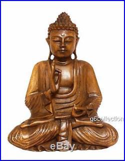 12 Wooden Serene Meditating Buddha Art Statue Hand Carved Sculpture Wood Decor