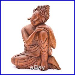 12in Leaning Buddha wood carved sculpture statue Meditation Bali art