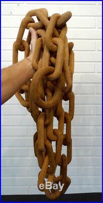 13-Foot ANTIQUE 1800's Carved Wood PRISON TRAMP FOLK ART CHAIN Sculpture Carving