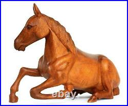 14 Large Wooden Hand Carved Horse Art Figurine Statue Sculpture Wood Decor