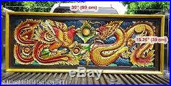 15x39 Rectangle Red Dragon Phoenix Wood Carving Home Wall Sculpture Panel Decor