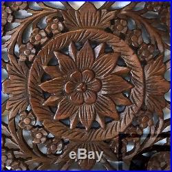 17.70 Circle Lotus Wood Carving Home Wall Panel Mural Decor Statue Art FS gtahy