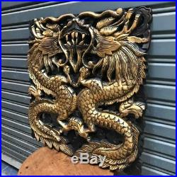 17-inch Gold-Colored Pair of Dragons Teak Wood Carving Wall Panel Art Handcraft