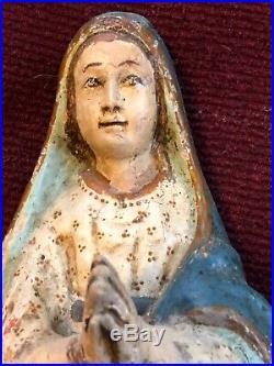 18th Century Wood Santo Santo Carving Virgin Spanish Colonial Ecuador