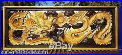19 x35 Rectangle Dragon Phoenix Wood Carving Home Wall Panel Art Decor Sculpture