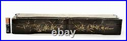 1900's Chinese Gilt Lacquer Wood Carved Carving Fan Case Box Painted Silk Lining