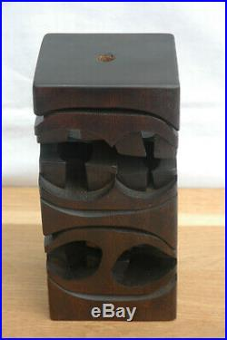 1960s Mid Century Modernist Brian Willsher Carved Wood Sculpture Lamp Base
