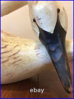 1980s Vtg 24 American FOLK ART WOODEN SWAN Sculpture SIGNED USA decoy