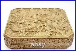 19C Chinese Lacquer Cinnabar Carved Carving Wood Box Landscape Figure Figurine