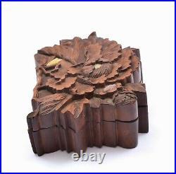 19C Japanese Shibayama Boxwood Wood Carving Peony Mother of Pearl Insect Box