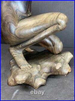 19th C. Nude Girl Statue Sculpture Abstract Hand Carved Hardwood Mas Bali Art