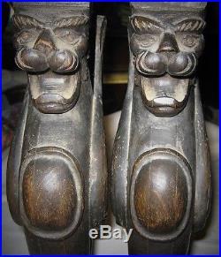 2 Antique Black Forest Carved Wood Winged Griffin Cat Art Statue Sculpture Shelf