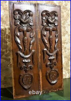 2 Drapery scroll leaves wood carving panel Antique french architectural salvage