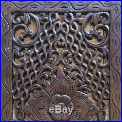 2 pcs Teak Wood Thai Hand Carved Home Decor Wall Panel Art Decorative #26 gtahy
