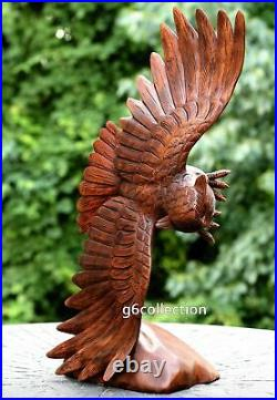 20 Large Hand Carved Soaring Fly Wooden Owl Statue Sculpture Figurine Decor Art
