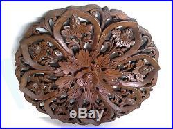 22.84 Lotus Round Teak Wood Carving Home Wall Panel Mural Art Decor FS gtahy