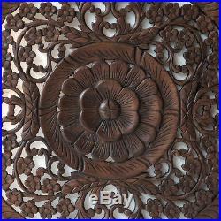 23.5 Lotus Flower Teak Wood Hand Carved Home Decor Wall Panel Art Mural 2 gtahy