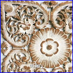 23.5 White Lotus Flower Teak Wood Hand Carved Home Decor Wall Panel Art 3 gtahy