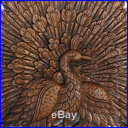 23.6 Peacocks Spread Tail Wood Carving Home Wall Panel Mural Decor Art FS gtahy