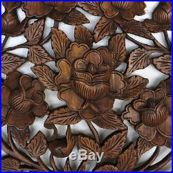 23.6 Rose Garden New Wood Carving Home Wall Panel Mural Decor Statue Art gtahy