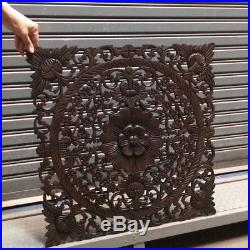 23-inch Square Brown Teak Wood Wall Panel Carved Floral Asian Home Decor