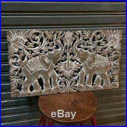23-inch Teak Wood White Elephants Handcrafted Wood Carving Wall Panel Sculpture