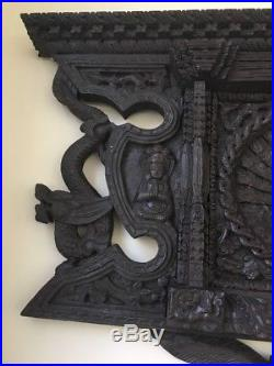 26x17 Carved Wood Wall Art Nepal Window Wooden Sculpture Peacock Large Decor