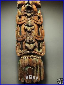 28 Tall Wood-carved Sculpture Deity Guardian Figure Rattanakosin Period 19th C