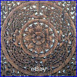 29.5 Square Lotus New Wood Carving Home Wall Panel Mural Decor Art Statue gtahy