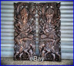 2pcsTEAK WOOD CARVED WALL ART SCULPTURE STENCIL GANESHA & ELEPHANT THAI