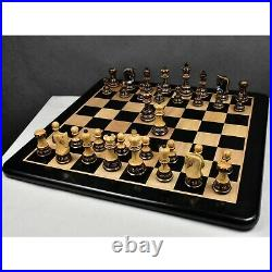 3.9 Artisan Carving Burnt Zagreb Chess Pieces Only Set Weighted Box wood