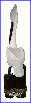 3 Ft Hand Carved Pelican Ocean Bird Wood Sculpture Cottage Tropical Island Art