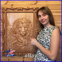 31-24 Wood carved picture Hunting painting-Lion-painting-sculpture-icon-art