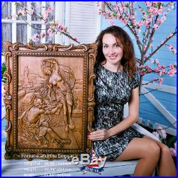 31-24Wood carved Fortune and the beggar-picture-painting-sculpture-icon-art