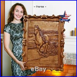31-24Wood carved picture Horse painting-sculpture-icon-furniture-artwork