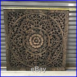 34-inch Black Wash Floral Wood Carving Wall Panel Teak Wood Art Sculptures