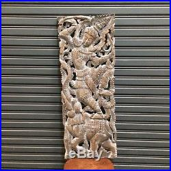 35 Teak Wood White Asian Angel Carving Wall Panel Sculpture Home Decor