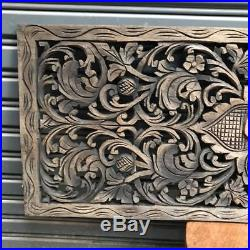35-inch Teak Wood Black Wash Floral Wood Carving Wall Panel Wall Home Decor