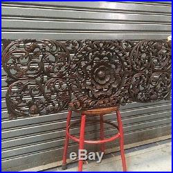 35-inch Teak Wood Carving Wall Panel Floral Carved Asian Wood Sculpture
