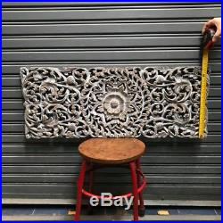 35-inch White Wash Teak Wood Carving Wall Panel Floral Hand Carved Asian Style