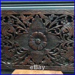 35x13 Flower Teak Wood Carved Handicraft Wall Decor Art Collectibles Beautiful