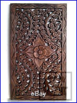 35x60cm 1 Pair Lotus Teak Wood Carving Home Wall Panel Mural Art Decor #02 gtahy