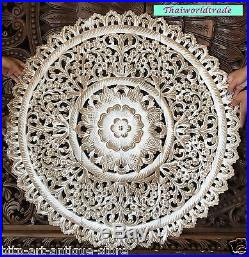 36 Bed Headboard Sculpture Lotus Flower Wooden Craved Carving Teak Wood Panels