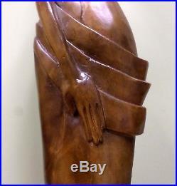 36 Midcentury Modern Hawaiian or Polynesian Nude Woman Sculpture Wood Carving